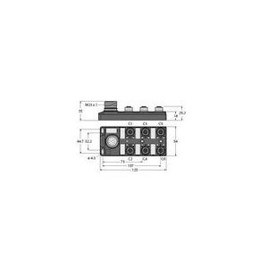 Turck PASSIVE ACTUATOR/SENSOR JUNCTION BOX, M12x1, 6-PORT, WITH MALE M23 F