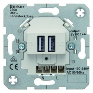 Berker USB-oplaadcontactdoos 230 V Huiselektron ica polarwit, mat