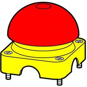 Eaton Bovenkast geel, paddestoelkap rood