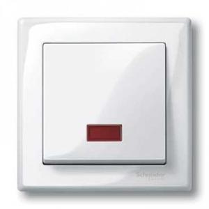 Merten Systeem M bedieningselement Aan-/uit-schakelaar Enkele wip Wit MTN432819