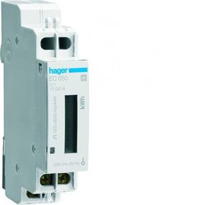 Hager kWh-meter 1 fase, dir, 32 A, 1 module