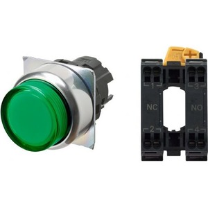 Omron PUSHBUTTON A22NN Ø22, BEZEL METAL, PROJECTED, MOMENTARY, CAP COLOR TRA