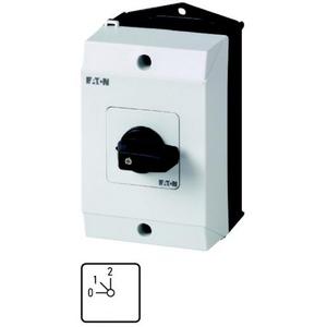 Eaton Stappenschakelaar,+kast, 1p, Ie=12A, FS 0-1-2, 45°, vast, 48x48mm