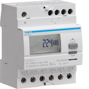 Hager kWh-meter 3 f, dir. 63 A, 1 tar, 4 mod