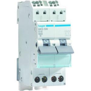 Hager Installatieautomaat 2x1p+N 16A B 6 kA QC