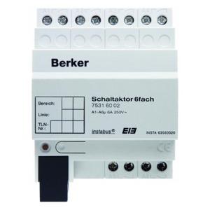 Berker Schakelactor 6-voudig 6 A maakcontact DI N instabus KNX/EIB lichtgrijs