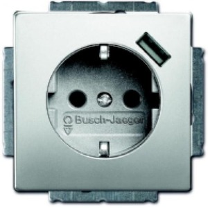 ABB Busch-Jaeger Pure stainless steel wandcontactdoos RA 1V KV Roestvaststaal ( RVS ) 2011-0-6166