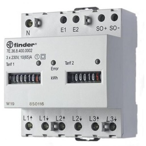 Finder KWH METER 3X65A D+N 100 PULS/KWH
