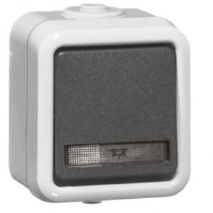 Peha Pulsdrukker 10A, 250V~, div.symbolen 1-pol met maakcontact, verlichtin