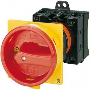 Eaton Hoofdschakelaar, 3p, 63A, greep rood geel, afsluitbaar, tussenbouw