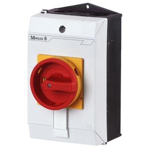 Eaton Hoofdschakelaar,+kast, 3p+1M+1V, 25A, greep rood geel, afsluitbaar
