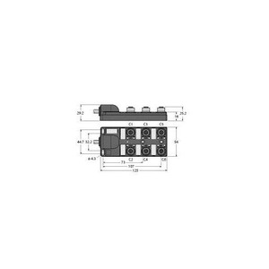 Turck PASSIVE ACTUATOR/SENSOR JUNCTION BOX, M12x1, 6-PORT, WITH INTEGRAL H