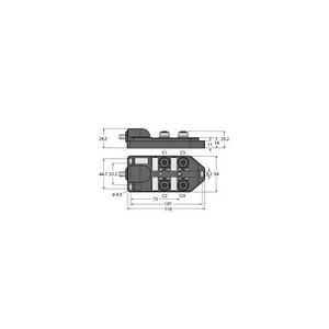 Turck PASSIVE ACTUATOR/SENSOR BOX, M12 × 1, WITH HOMERUN CABLE, 4-PORT