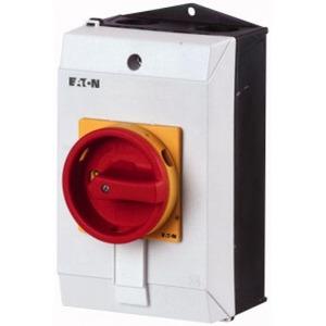 Eaton Hoofdschakelaar,+kast, 3p, 32A, greep rood geel, afsluitbaar
