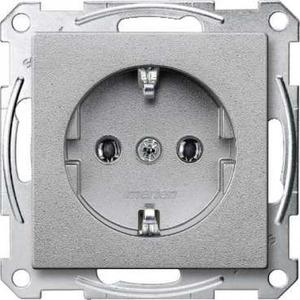 Merten SYSTEEM M wandcontactdoos RA 1V Aluminium MTN2301-0460