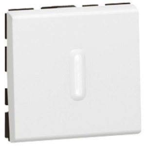 Legrand MOSAIC PULSDRUKKER 2 MODULES VERLICHT MET LED ANTIBACT.6A 250V WIT.