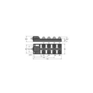 Turck PASSIVE ACTUATOR/SENSOR BOX, M12 × 1, WITH HOMERUN CABLE, 8-PORT