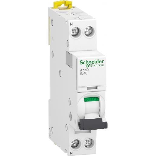 Schneider Electric Acti 9 Installatieautomaat B karakteristiek 6A 2p 1 beveiligd incl nul 1TE A9P42606