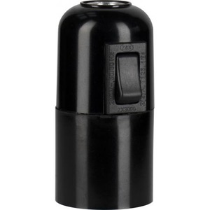 Bailey LAMPHOLDER E27 BAKELITE PLAIN+SWITCH BLACK