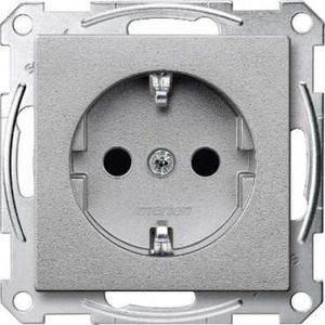 Merten SYSTEEM M wandcontactdoos RA 1V KV Aluminium MTN2300-0460