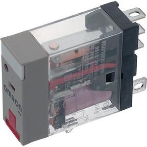 Omron G2RS,1xwissel,12 VAC/10A,1p,insteek,LED,vergr.testknop,mono,ongepol.