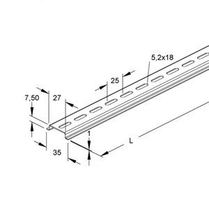 Newlec Dinrail 35x7,5mm geperforeerd p/m