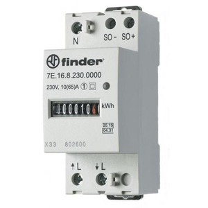 Finder KWH METER 35MM 1X65A 1000 PULS/KWH