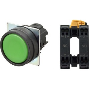 Omron PUSHBUTTON A22NN Ø22, BEZEL PLASTIC, FLAT, MOMENTARY, CAP COLOR OPAQUE
